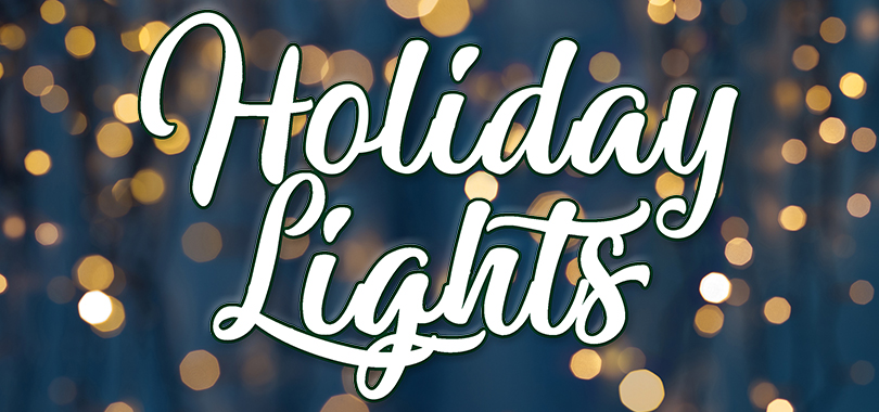 String lights on blue background with Holiday Lights in text