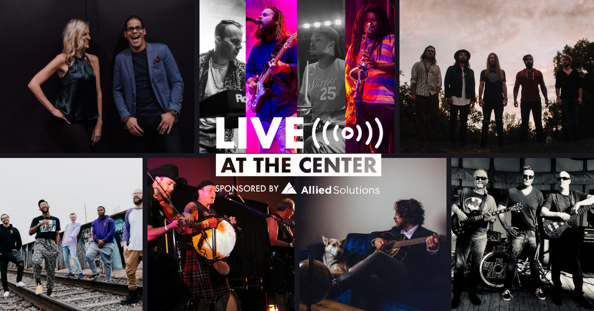 Grid of local bands with Live at the Center logo in the middle
