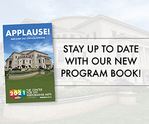 "Cover of our program book showing exterior of Palladium with ""stay up to date with our new program book"" text on graphic"
